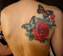 Tattoo Butterflies with roses shoulder-blade