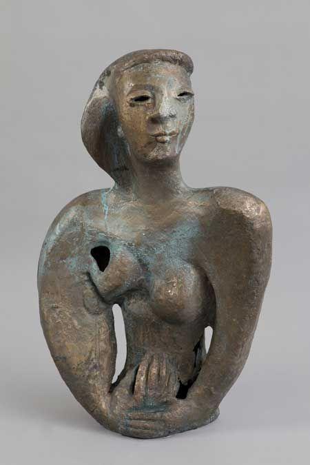 wanda czełkowska, madonna z tamtych lat, 1959, brąz patynowany
