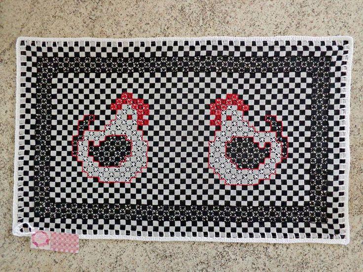 Bordado em tecido xadrez - Descanso de prato