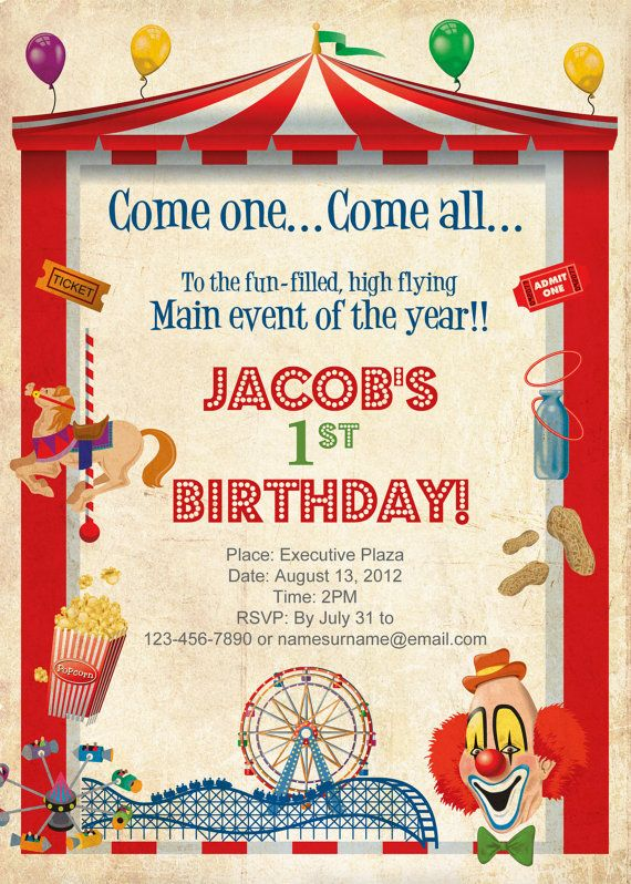 38 best Circus Birthday images on Pinterest Birthdays, Circus - circus party invitation