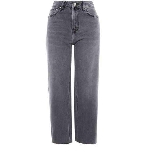 Topshop Moto Grey Cropped Wide Leg Jeans (€45) ❤ liked on Polyvore featuring jeans, grey, high waisted jeans, highwaist jeans, high rise cropped jeans, high rise jeans and raw hem jeans