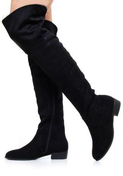 Czarne kozaki za kolano #buty #shoes #black #muszkieterki