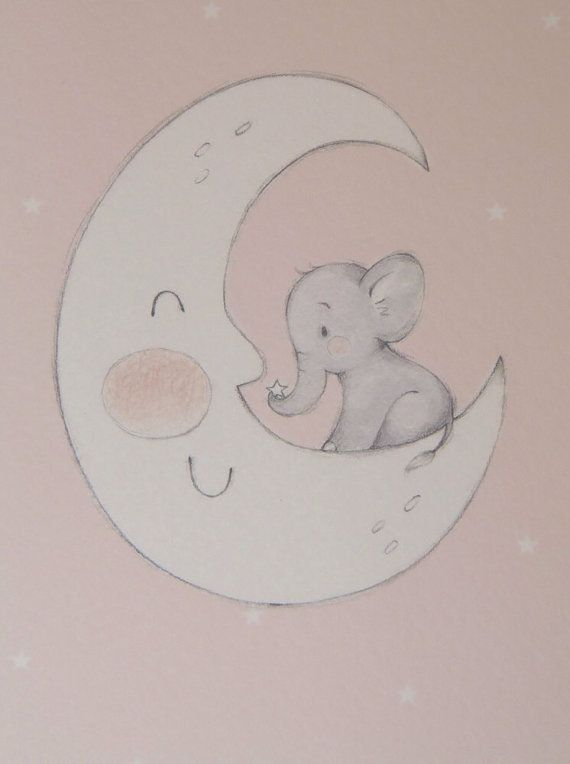 Pink Baby Elephant on Moon by LittleCupCreations on Etsy #nursery #decor