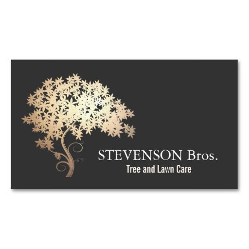 gold tree lawn care landscape and garden designer double sided standard business cards pack