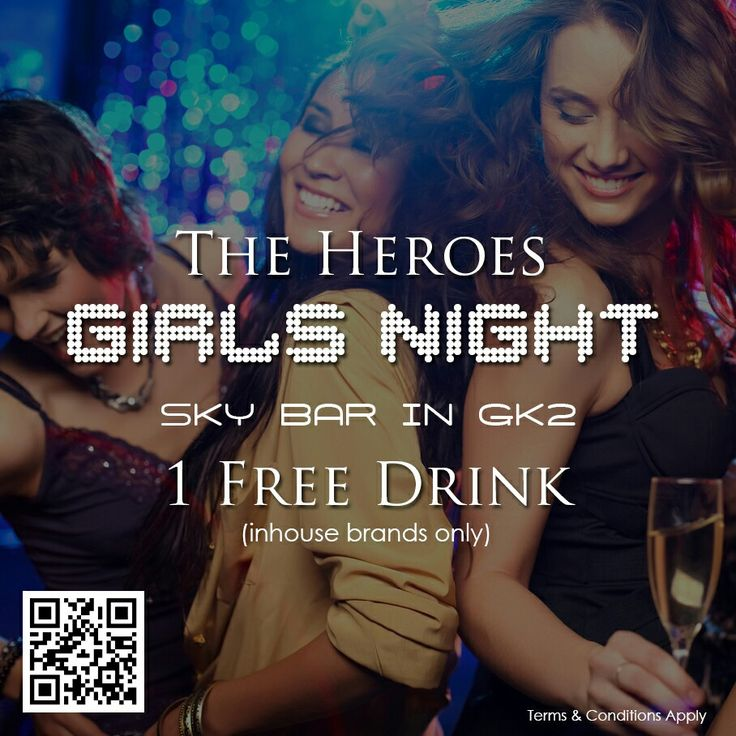 Who's ready for a Girls Night? The Heroes Bistro presents Girls Night on every Thursday with an amazing offer (1 Free Drink for every female guest)  Hurry up & get your 1 Free Drink vouchers to click here  https://goo.gl/gA7GJr
