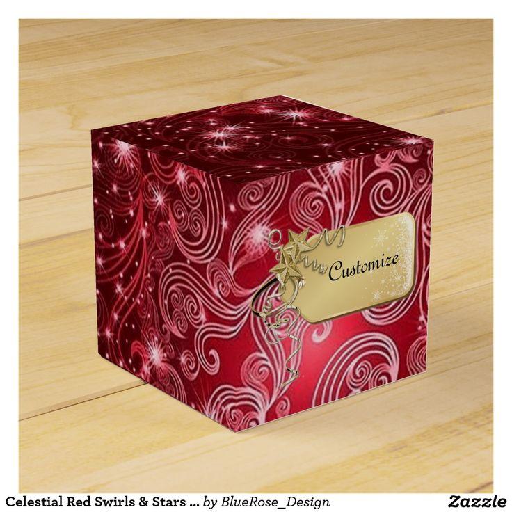 Celestial Red Swirls & Stars Cube Favor Box