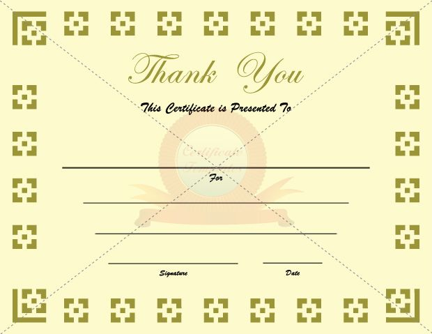 Certificate template 502 pinterest thank you certificates yelopaper Image collections