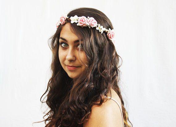 Bridal Hair Wreath  Pink Flower Crown Bridal by BloomDesignStudio, $42.00