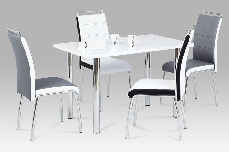 DCL-403 WT Moderní jídelní židle v kožence v bílé barvě s černými boky na pochromované podnoži. Židle má praktické a velmi vzhledné madlo pro snadnou manipulaci. Tato oblíbená židle s nosností do 100 kg je vhodná do jídelny nebo kuchyně.