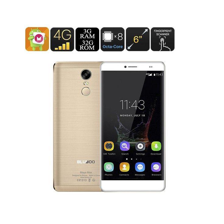 Bluboo Maya Max Smartphone - 6 Inch Screen, Android 6.0, Octa Core CPU, 3GB RAM, HotKnot, 13MP Camera, Fingerprint Sensor (Gold)