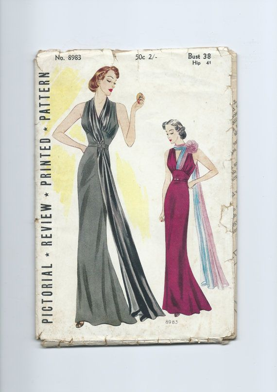 Pictorial Review 8983 | 1930s Women's and Misses' Evening Frock