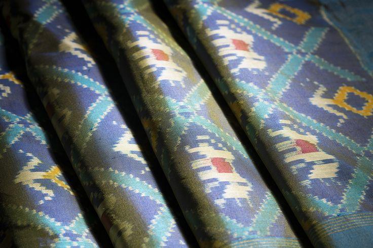 A glorious blue Ikat silk with hints of yellow and intricate motifs from Ghanshyam Sarode #ikat #silk #Handloom #india #Parisera