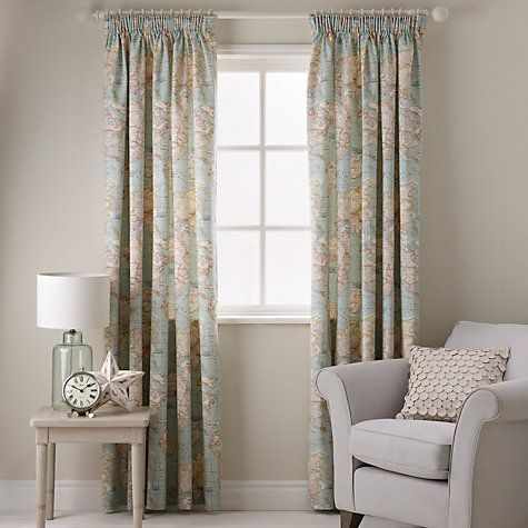 Buy John Lewis World Map Lined Pencil Pleat Curtains Online at johnlewis.com