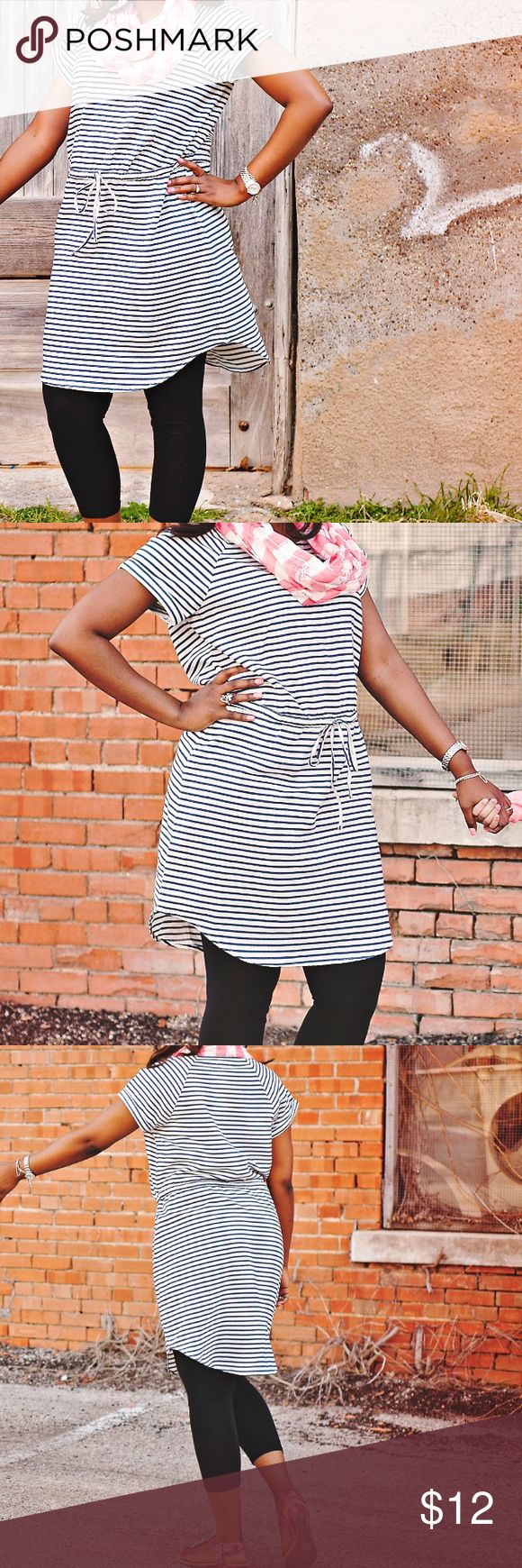 Old Navy Striped Dress Navy/White dress, perfect with leggings. If you're shorter, then leggings probably wouldn't be necessary for you. Either way will look great. The sleeves have a little cuff at the end. This is one of my favorite quick go-to dresses. Old Navy Dresses