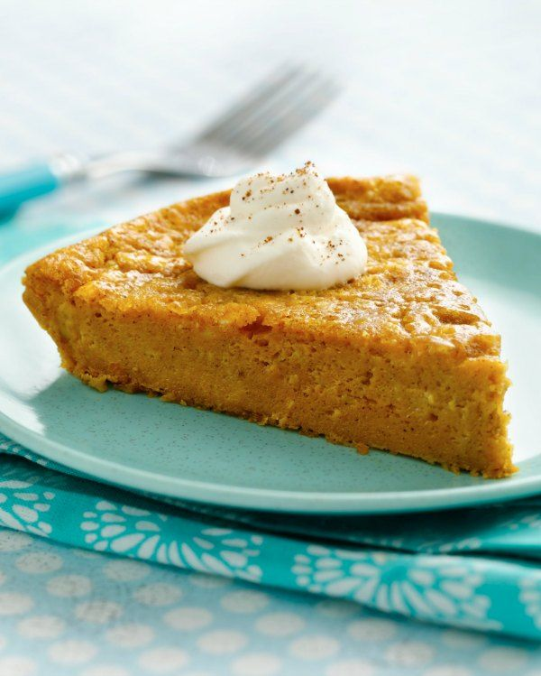 You can totally bring the pumpkin pie to Thanksgiving this year with this impossibly easy no crust pie recipe!