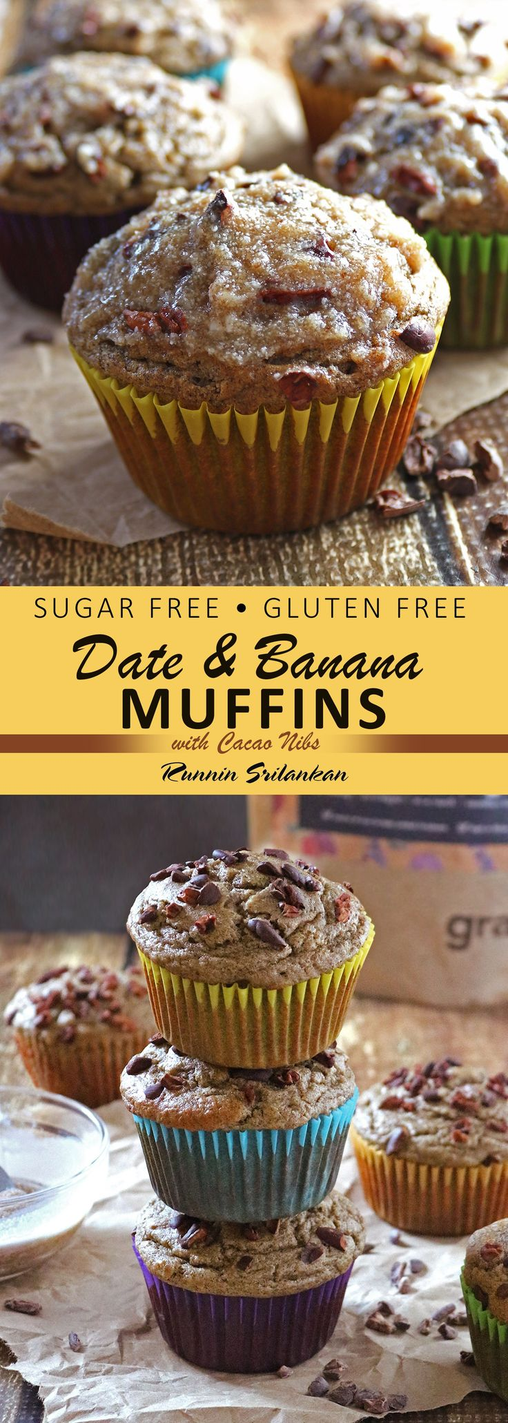 These Date Banana Muffins with Cacao Nibs are refined sugar-free, gluten-free and dairy-free AND taste-full!