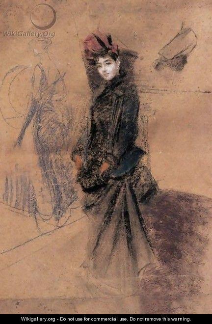 """Giovanni Boldini (Italian, 1842-1931) """"Il cappello di velluto rosso"""" 1889"""