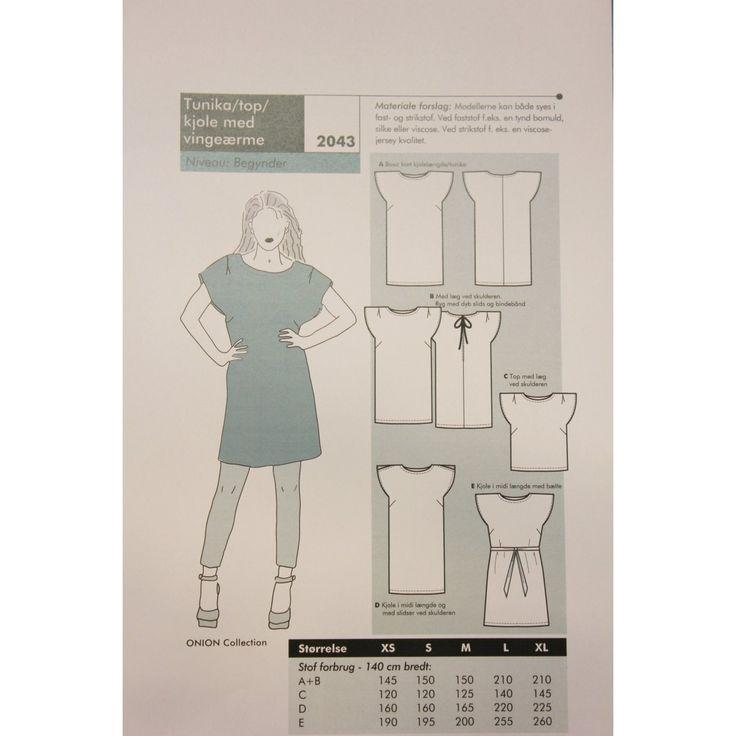 Onion 2043 - tunika/topp/kjole med vingeermer
