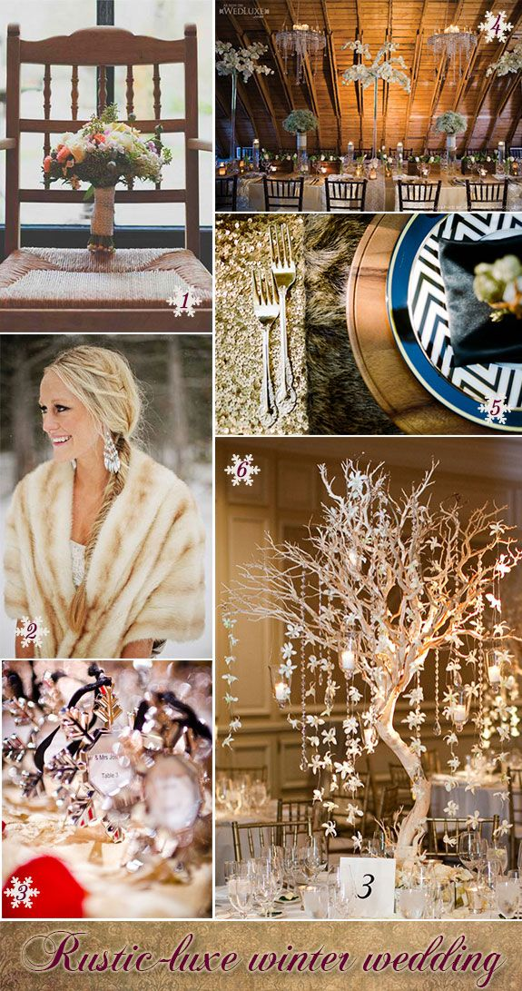 Rustic winter wedding ideas from bouquet to table decorations. #winterweddings #inspirationboards #rusticweddings