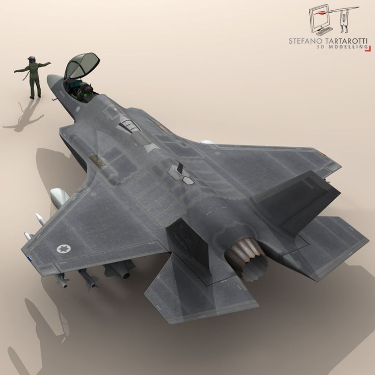 F 35A Israeli Air Force 3D Model- NOTE: the pilot character is not rigged -no bones-  External pylons and weapons could be removed.  Made in cinema4d R12. .fbx format is good for importing in 3dstudio max and Maya.   - F35A: Polygons 30501 Vertices 31998  - Pilot character: Polygons 5012 Vertices 5105  This model is only artistic representation of the subject matter. I made it for a flight magazine illustration. If you like the model please rate it.    The F-35A is the conventional takeoff…