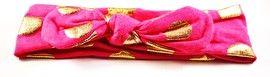 Onwijs leuke en vrolijke haarband met gouden stippen in de kleur donker roze.Elastische band, hoofdomtrek 41,5 cm, breedte ongeveer 5,5 cm.