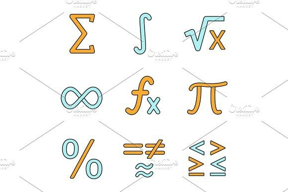 Mathematics Color Icons Set Icon Set Mathematics Icon