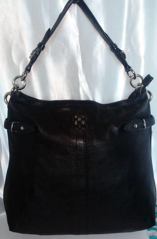 483979f2b5 COACH Colette Shoulder Hobo Bag Purse Tote Belted Slim Black Leather  J1076-16413  Coach  Tote