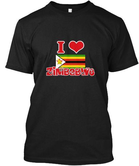 I Love Zimbabwe Black T-Shirt Front - This is the perfect gift for someone who loves Zimbabwe. Thank you for visiting my page (Related terms: I Heart Zimbabwe,Zimbabwe,Zimbabwean,Zimbabwe Travel,I Love My Country,Zimbabwe Flag, Zimbabwe Map,Z #Zimbabwe, #Zimbabweshirts...)