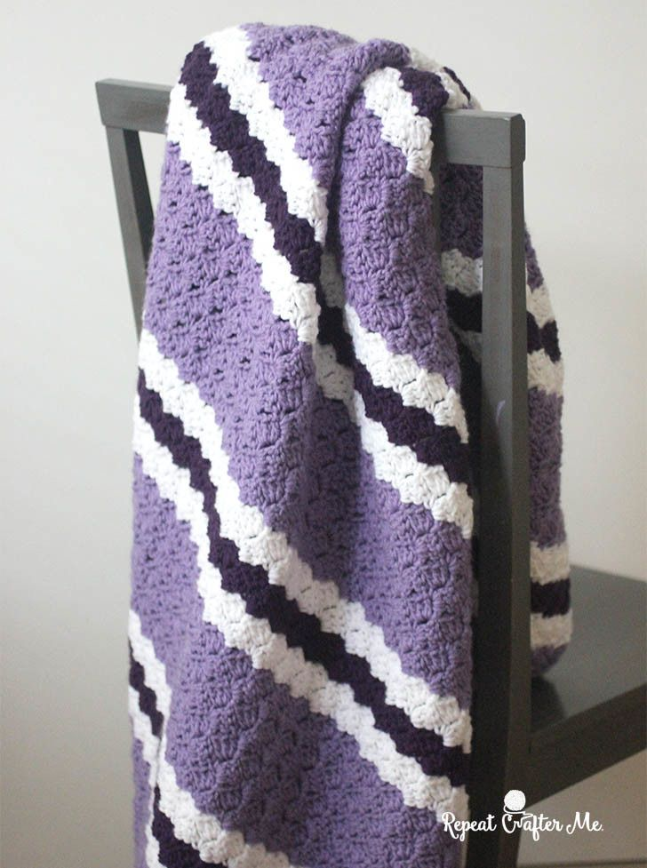 Crochet Purple Stripe C2C Blanket