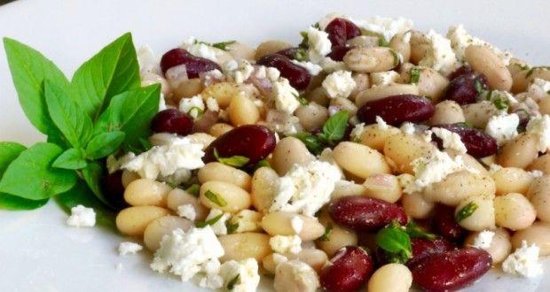 φασόλια σαλάτα με φέτα & βασιλικό - Pandespani.com