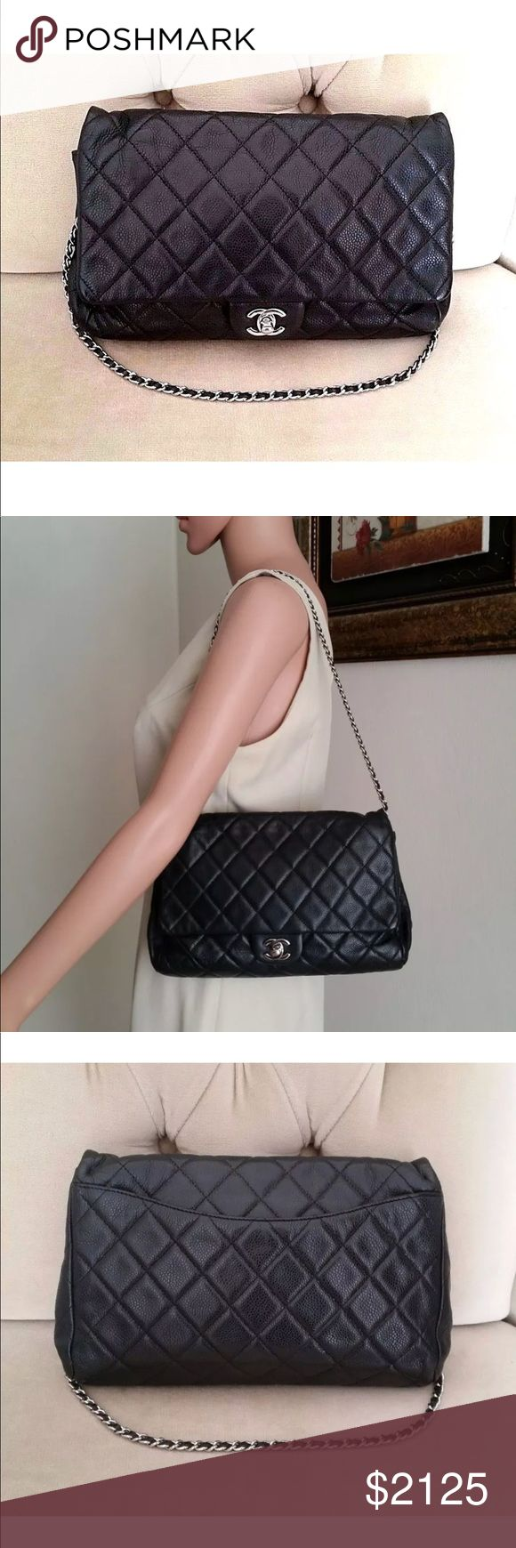 """Chanel Black Quilted Glazed Caviar Handbag 100% authentic Chanel light black Quilted glazed caviar leather chain flap clutch bag. Made from caviar leather and features the silver tone """"CC"""" turn lock closure. The versatile chain strap can be worn on the shoulder or tucked in to be carried as a clutch. Current retail price: $3,100. The bag is in good condition with some signs of easy wear on the inside. The exterior is in perfect condition. Date/ authenticity code: 15316345. Authenticated by…"""