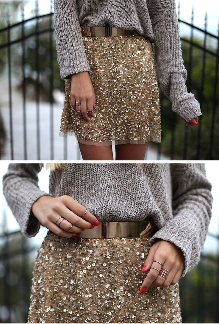 Gray sweater and gold sparkle skirt.