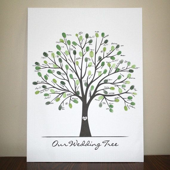 Wedding thumbprint tree instead of a guest book - would love to see it personalized with names!