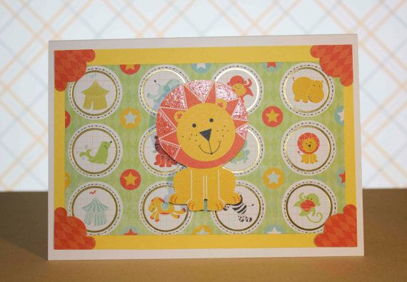 Party Animals Lion Greeting Card by TartanElephantAus on Etsy, $6.00