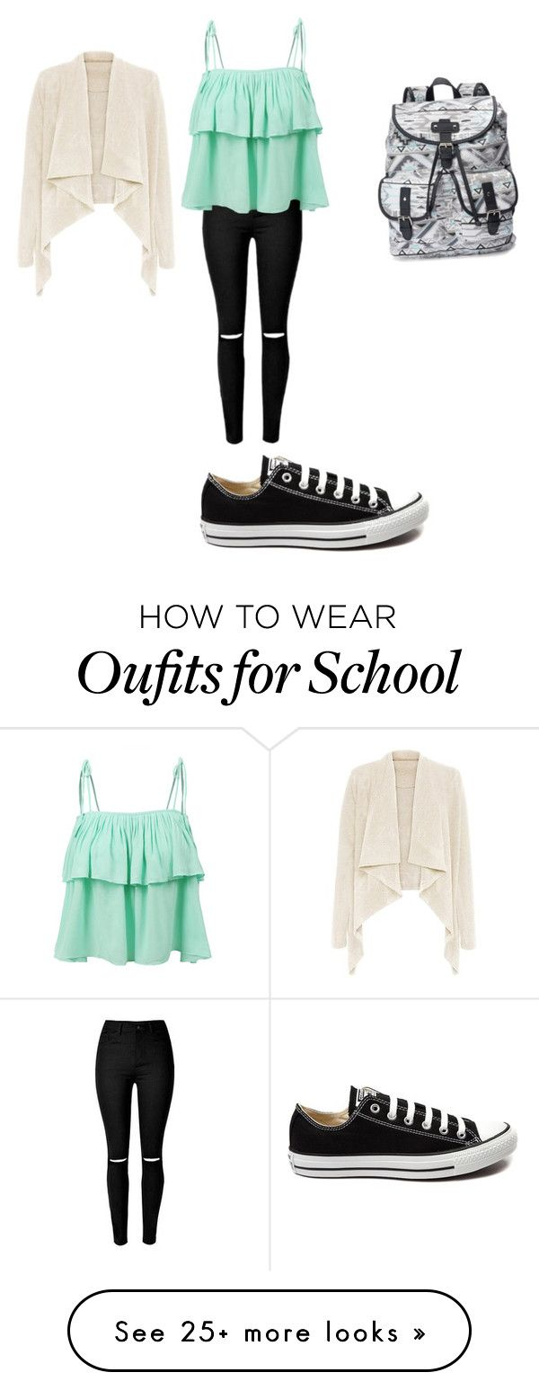 """""""school"""" by shohini-banerji on Polyvore featuring Candie's, Converse, LE3NO, women's clothing, women, female, woman, misses and juniors"""