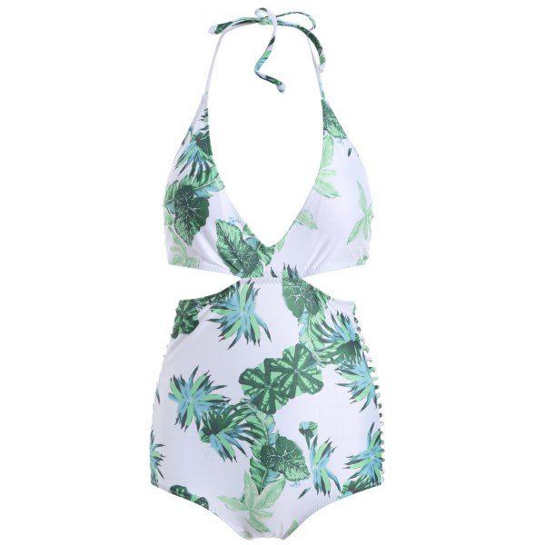 Halter Leaves Print Monokini Swimsuit - WHITE M