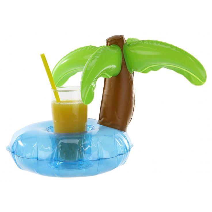 Opblaasbare palmboom beker houder 22 cm. Tropische beker houder van ongeveer 22 cm hoog. Deze palmboom bekerhouder is ideaal om uw drinken mee te nemen in het zwembad.