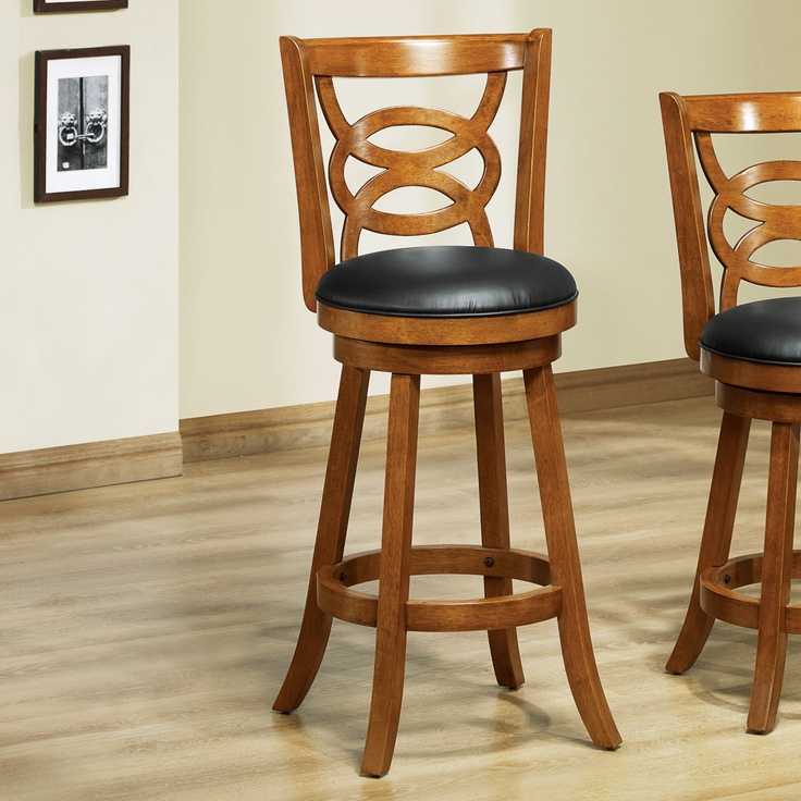 Monarch Specialties I Solid Wood Swivel Bar Stool Set of 2 Home