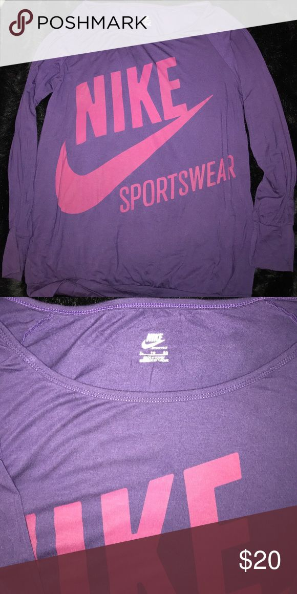 Nike sportswear purple & pink slouchy top - XL Worn only twice. 94% rayon from bamboo 6% spandex. Size XL. NO TRADES Nike Tops Tees - Long Sleeve