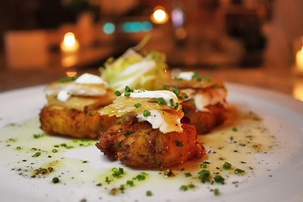 Smoked trout on potato latkes at The Westerly on Roncesvalles in Toronto.