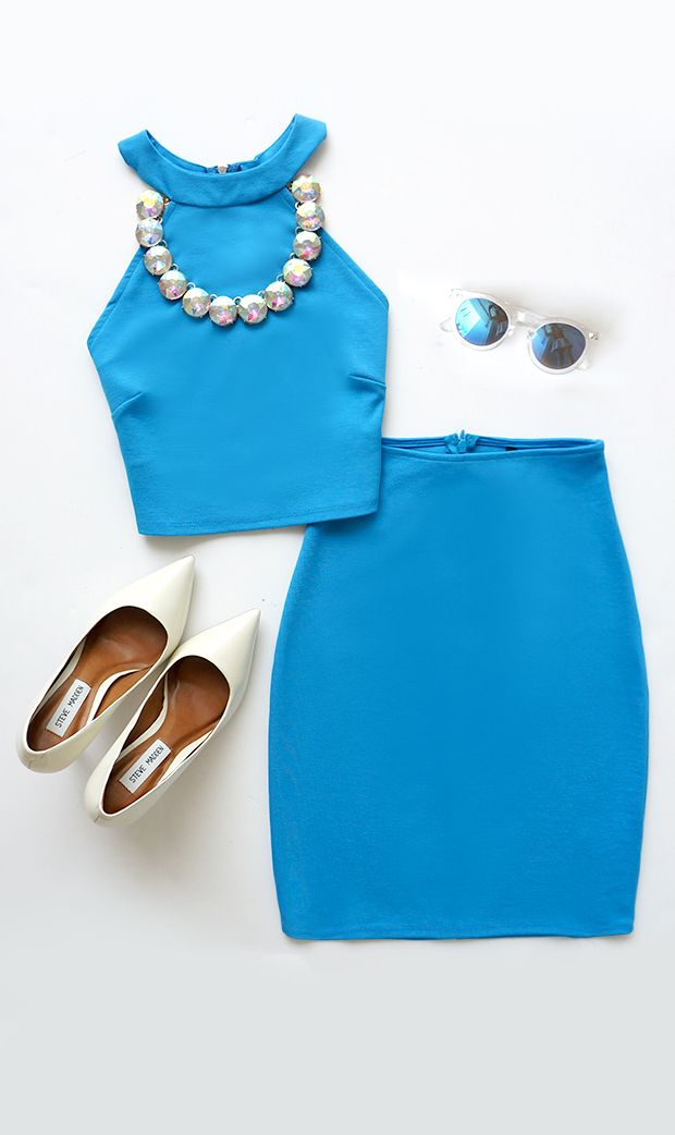 Up Two You Blue Two-Piece Dress