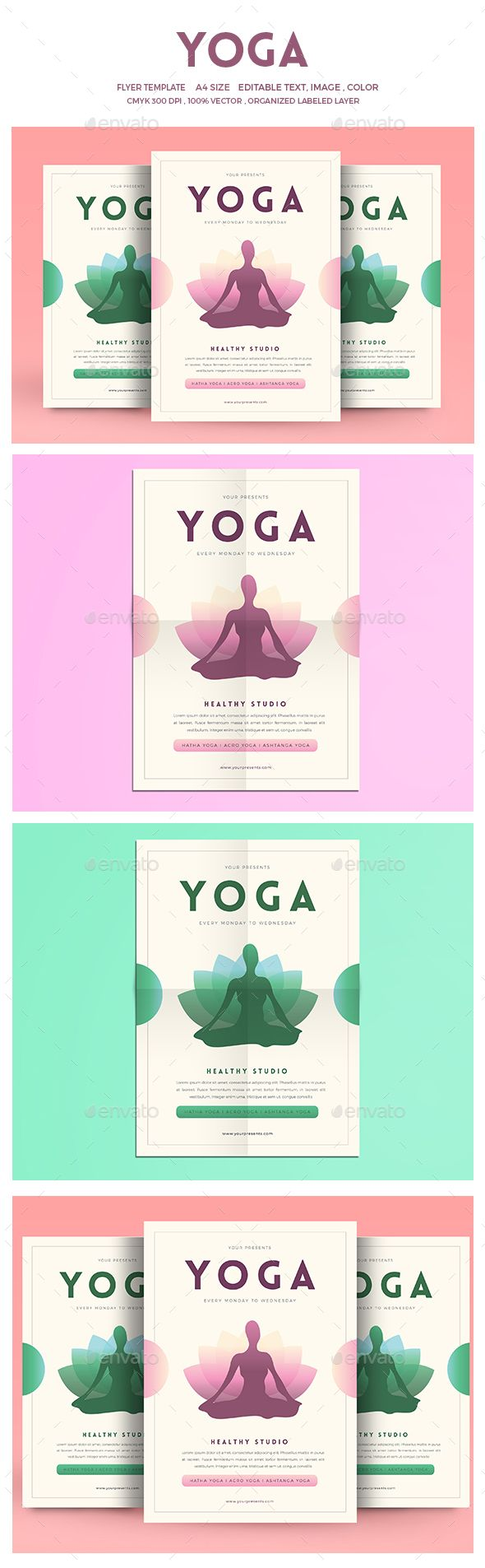 this flyer made for your yoga advertisement, yo can also use this flyer for spa, beauty center or yoga event. FeaturesAi cs5 and Psd FIle 100 vector CMYK 300 DPI A4 Size Full editable Well organized LayersFont UsedLovelo Montserratdont forget to rate this