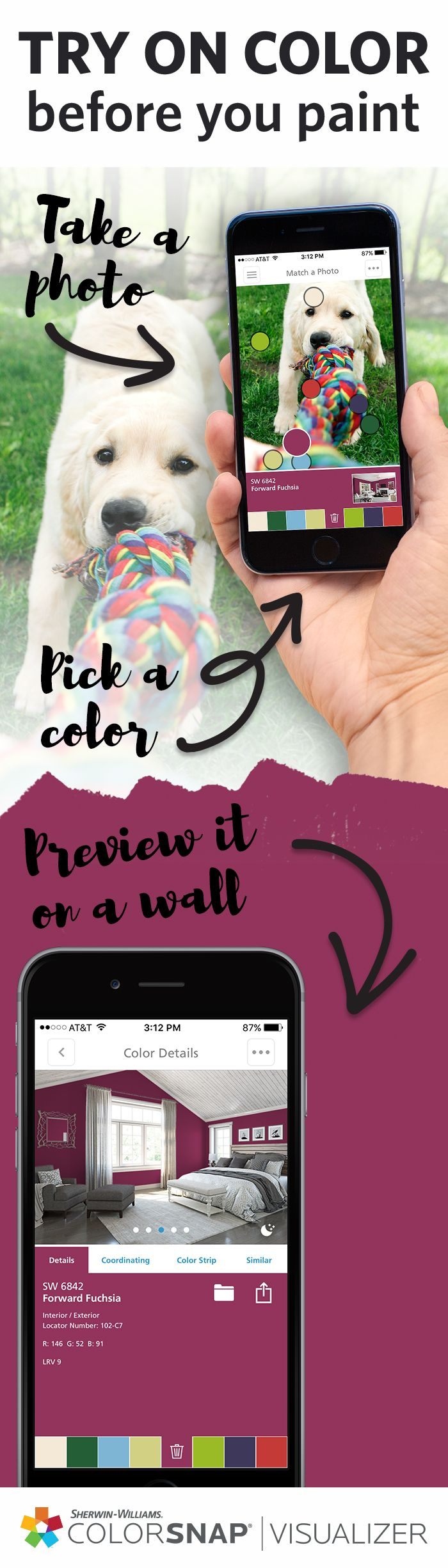 Your next paint color might be right in front of your nose. ColorSnap® Visualizer for iPhone & Android lets you capture colors from any photo and try them out in one of our room scenes. Once you've picked your favorites, simply visit any Sherwin-Williams store, launch the app, point it at our color wall and rotate the phone horizontally to locate the corresponding chips. Download ColorSnap® Visualizer to get started.