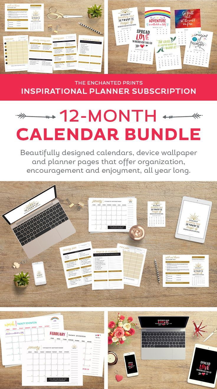 Calendar Year Goals : Organized for the year month calendar months and