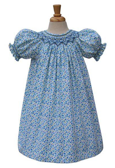 Brittany Girls blue floral hand smocked bishop dress. – Carousel Wear