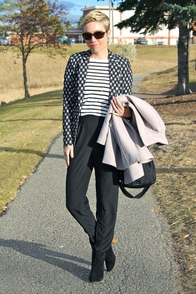 H&M blazer - Mia boots - Old Navy coat - Old Navy shirt - Ellington Handbags bag