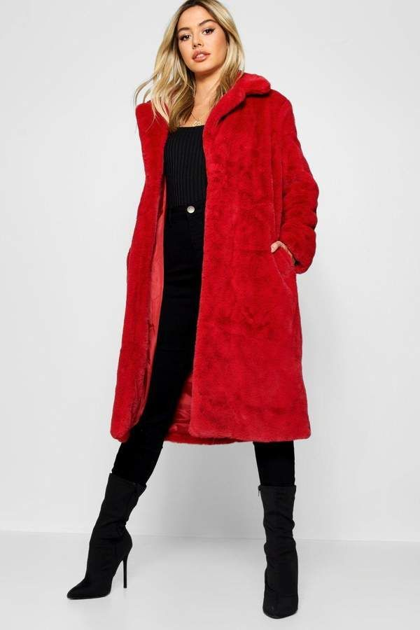 4bc07e10365 boohoo Petite Luxe Faux Fur Coat in vibrant red   a real statement ...