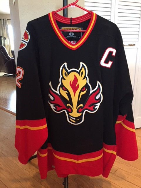 ce4236f4d NHL Authentic Pro KOHO 56 Jarome Iginla Calgary Flames Flaming Horse 3rd  Jersey (eBay Link)