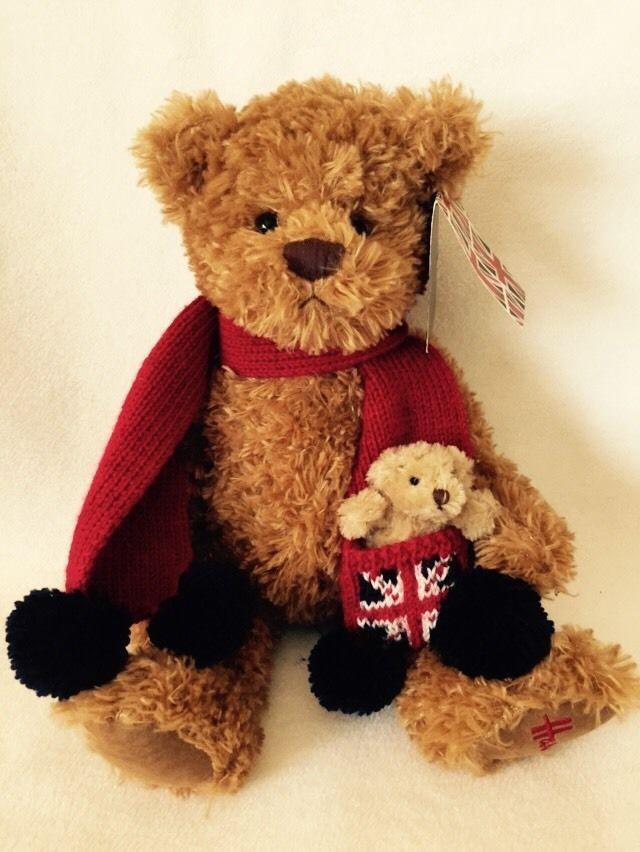 Harrods Bear Red Scarf Union Jack Baby Mini Bear in Pocket Rare 91773 NWT! #Christmas