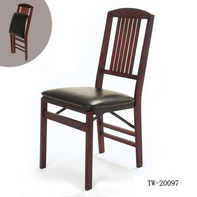 Folding Chair Wooden Folding Chair With Leather Seat